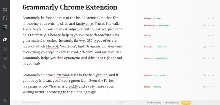 Grammarly chrome extension for social media manager marketer freelancer