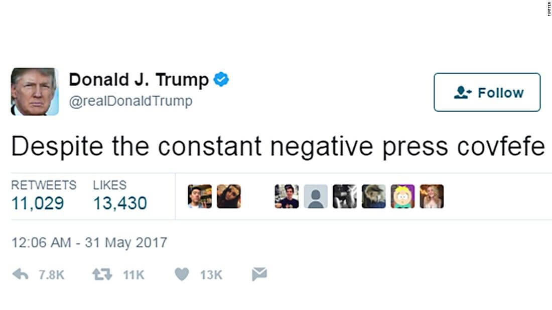 Social Media Year in Review 2017 Donald Trump covfefe