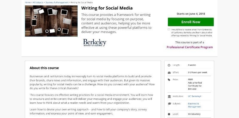 social media courses - writing for smm edx
