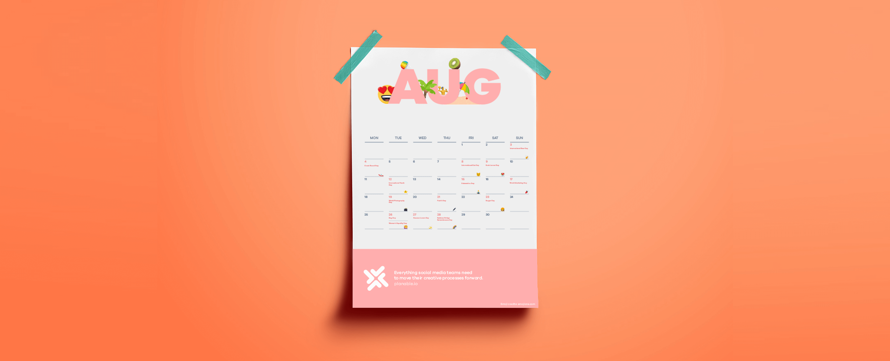 EmojiCalendar – Social Media Calendar of All the Summer Events