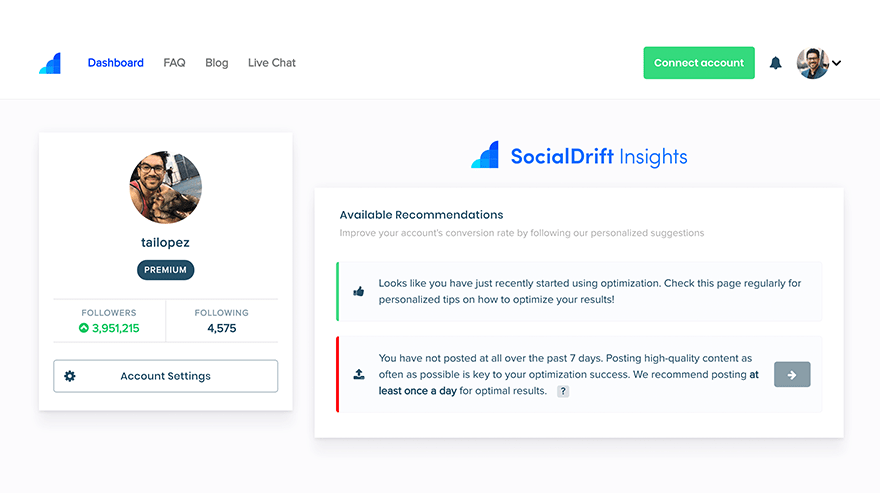 instagram marketing tool socialdrift automate instagram activity insights tailopez dashboard demo product