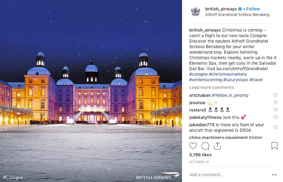 best social media campaigns british airways christmas instagram post