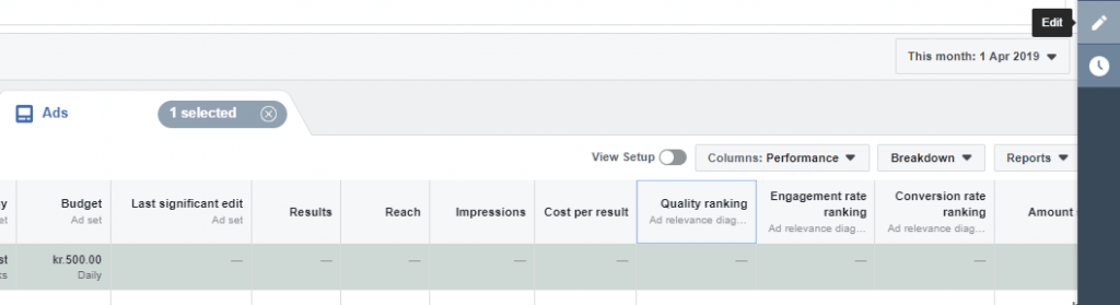 quality ranking facebook ads manager instagram dynamic ads