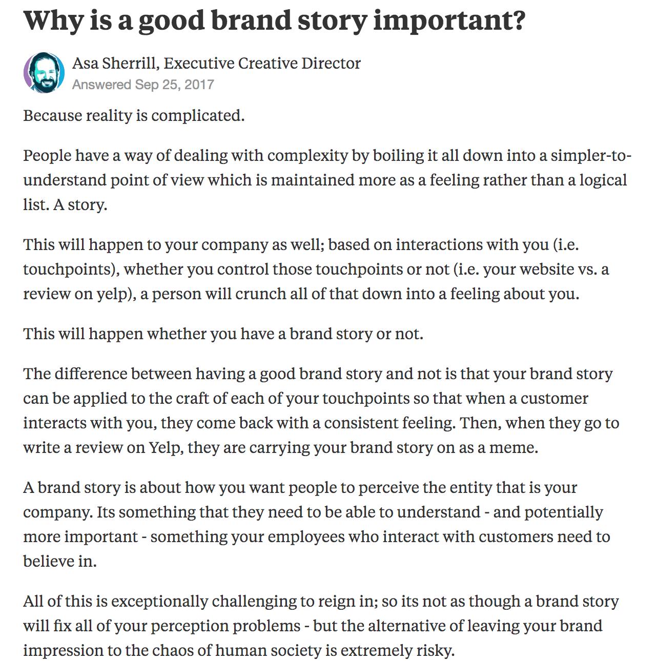 Quora answer brand story