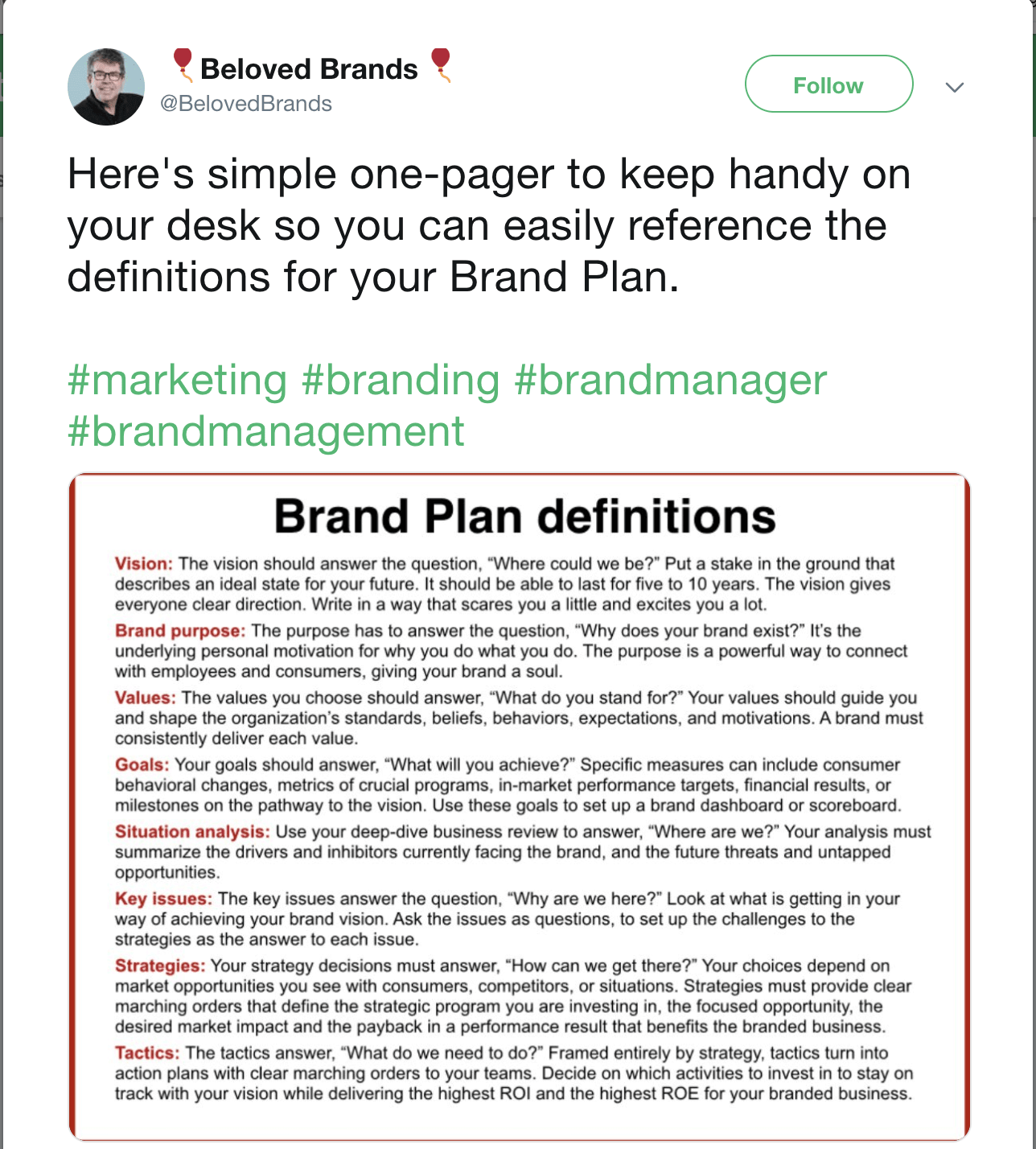 brand management definition beloved brands tweet