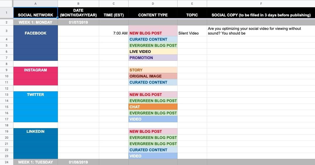 Editorial calendar in spreadsheets