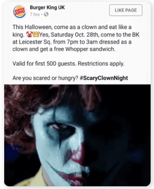 Burger King scary clown