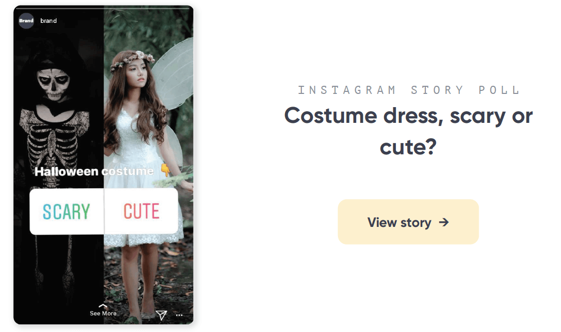 Costume dress Instagram story poll