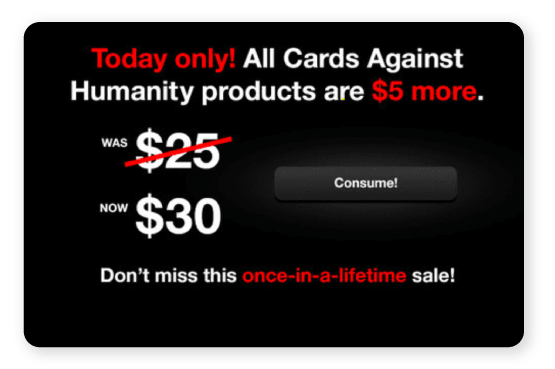 Card against humanity Black Friday ad
