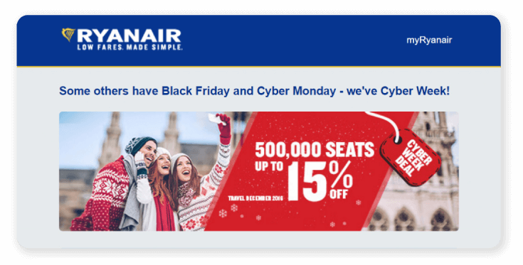 Ryanair Cyber Monday Landing Page