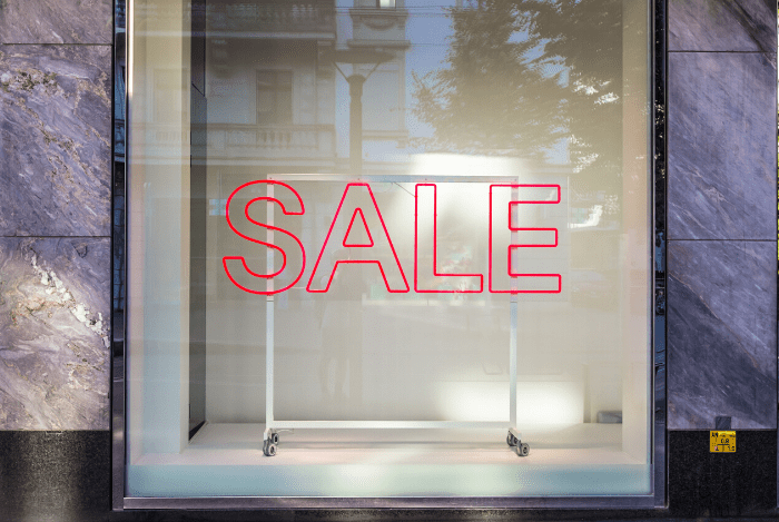 Sale displayed on window