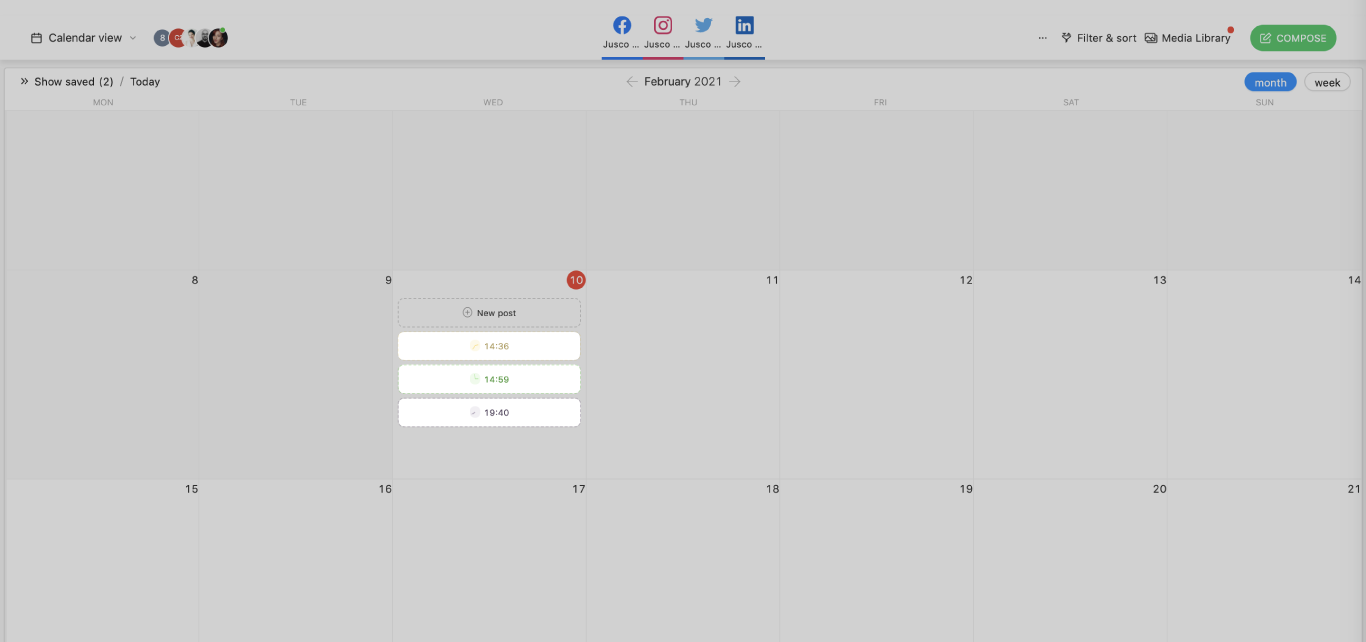 social media calendar timeslots planable