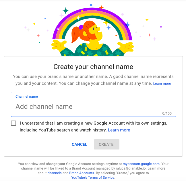 planable youtube marketing brand account